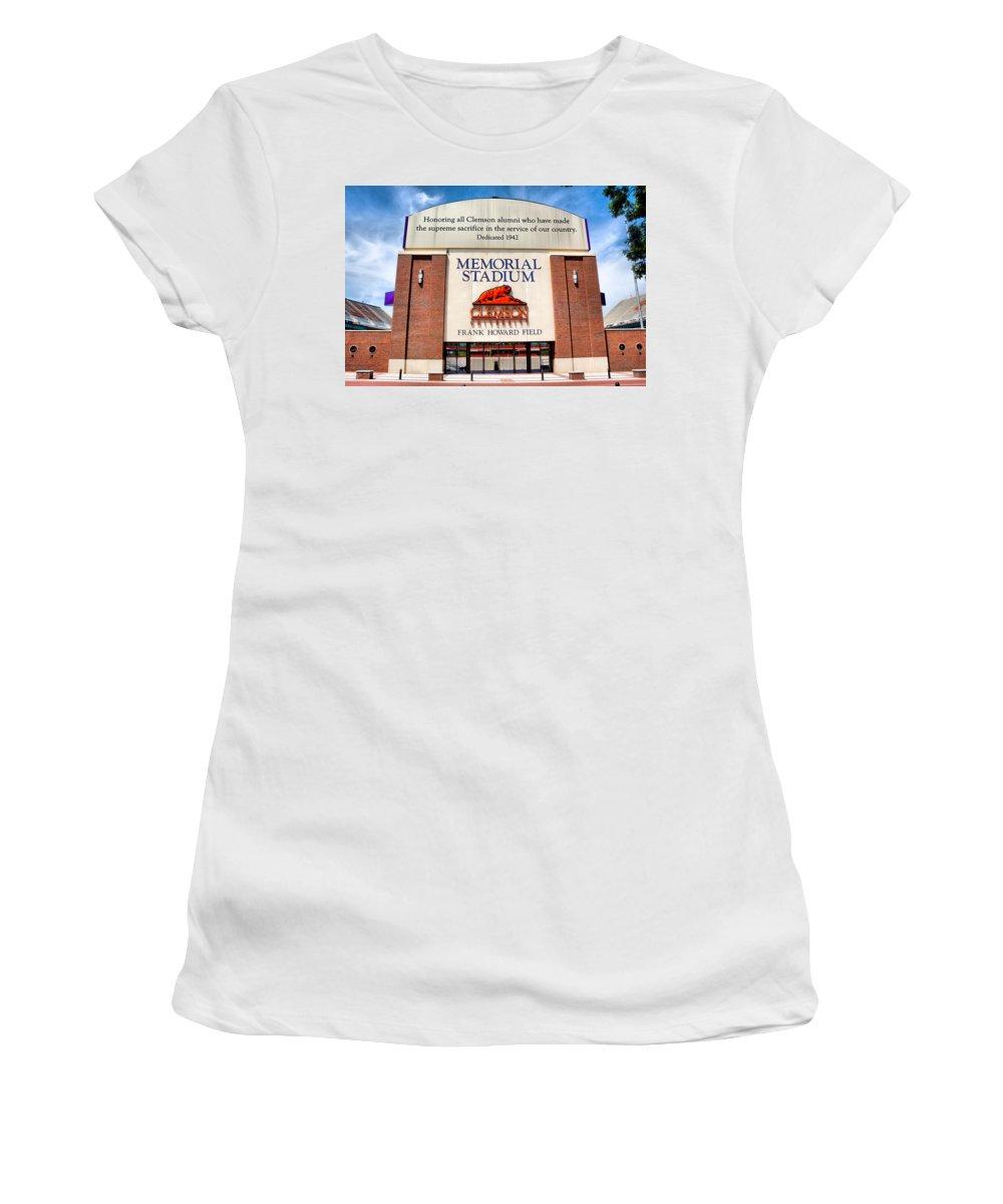 Clemson Women's T-Shirt featuring the photograph Poe Plaza - Clemson University by Lynne Jenkins