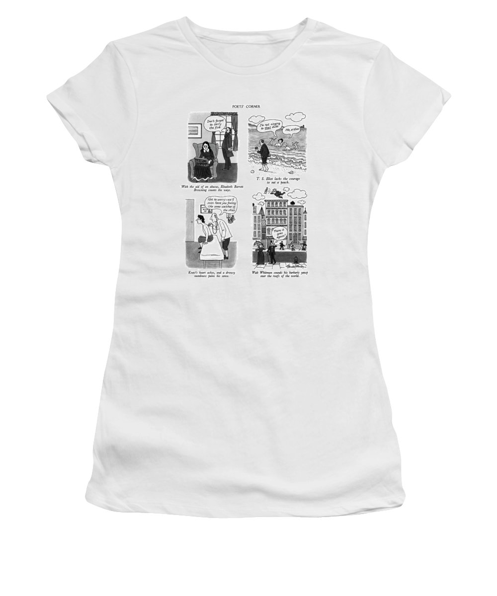 Poets' Corner With The Aid Of An Abacus Women's T-Shirt (Athletic Fit) featuring the drawing Poets' Corner by J.B. Handelsman