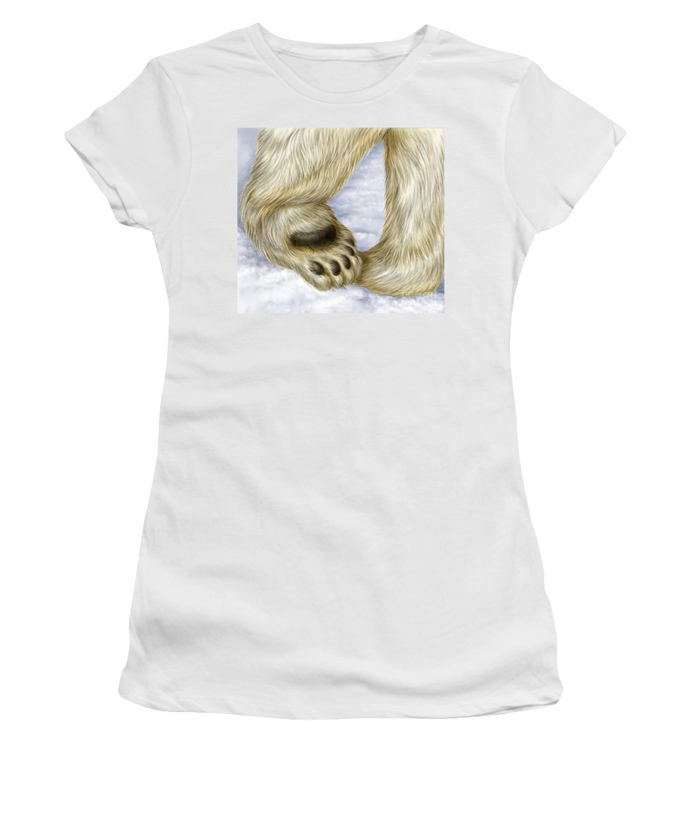 Bear Women's T-Shirt (Athletic Fit) featuring the photograph Polar Bear Paw by Laurie OKeefe