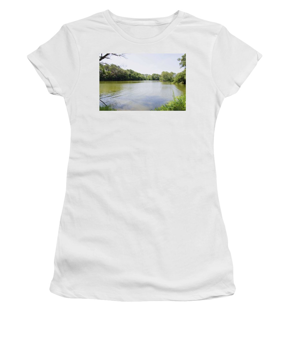 Pond Women's T-Shirt (Athletic Fit) featuring the painting Pond At Norfolk Botanical Garden 9 by Jeelan Clark