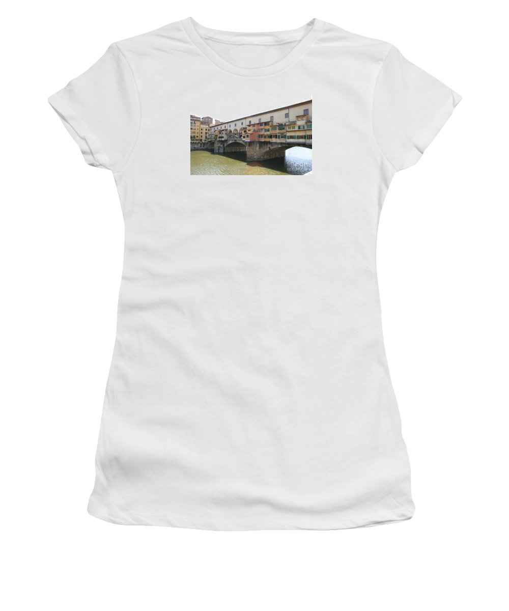 Bridge Women's T-Shirt (Athletic Fit) featuring the photograph Ponte Vecchio - Florence by Christiane Schulze Art And Photography
