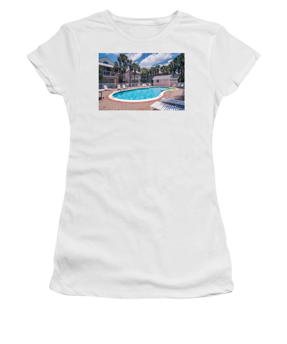 Agents Women's T-Shirt (Athletic Fit) featuring the photograph Pool And Cottages by Alex Grichenko