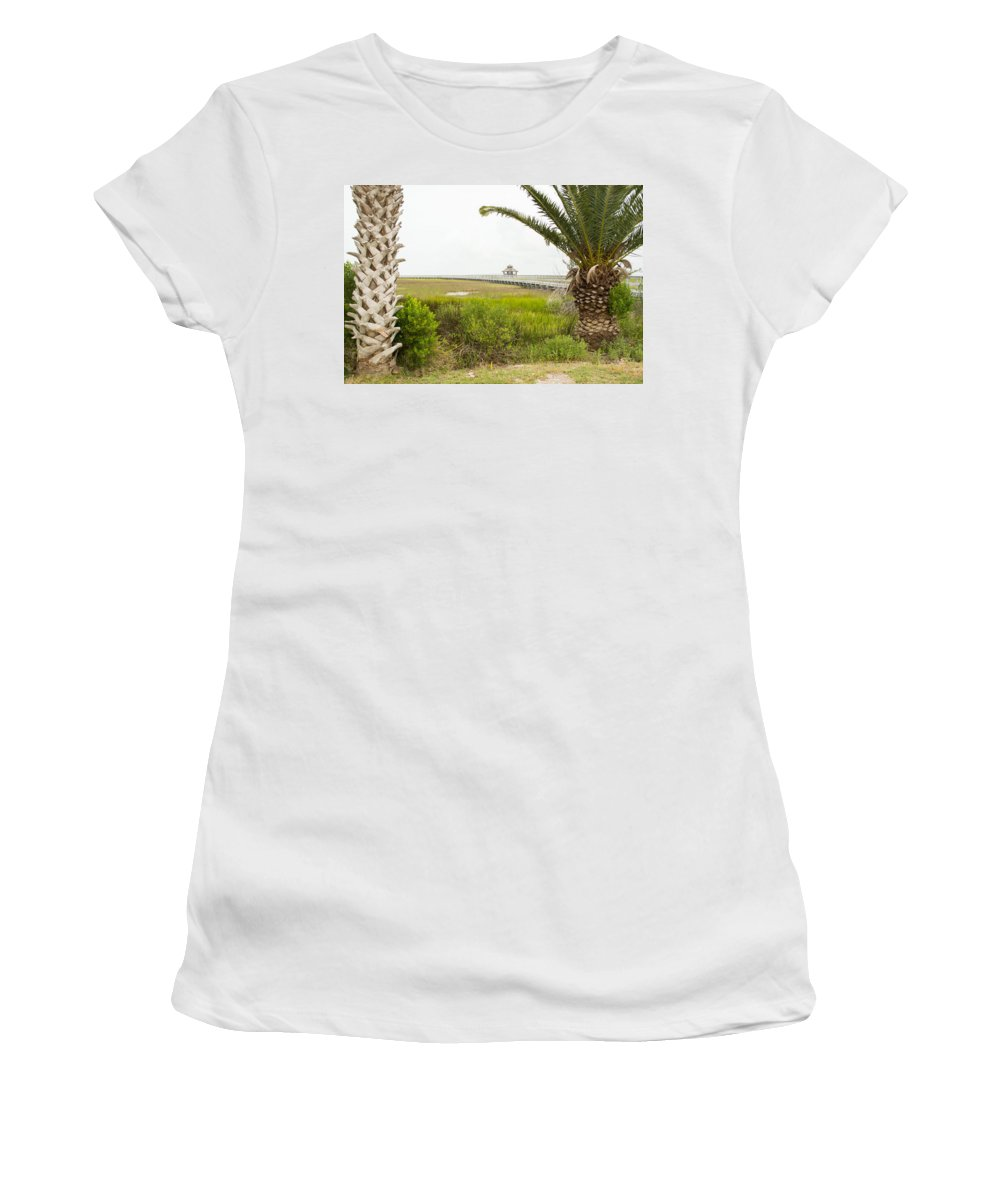 Texas Women's T-Shirt featuring the photograph Port Lavaca Migratory Bird Stopover by JG Thompson