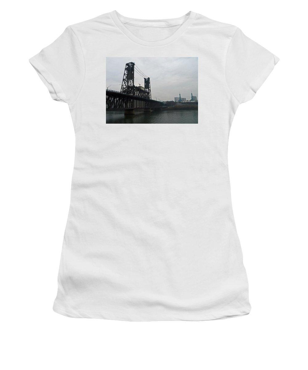 Portland Oregon Women's T-Shirt (Athletic Fit) featuring the photograph Portland Oregon Steel Bridge by Elizabeth Rose