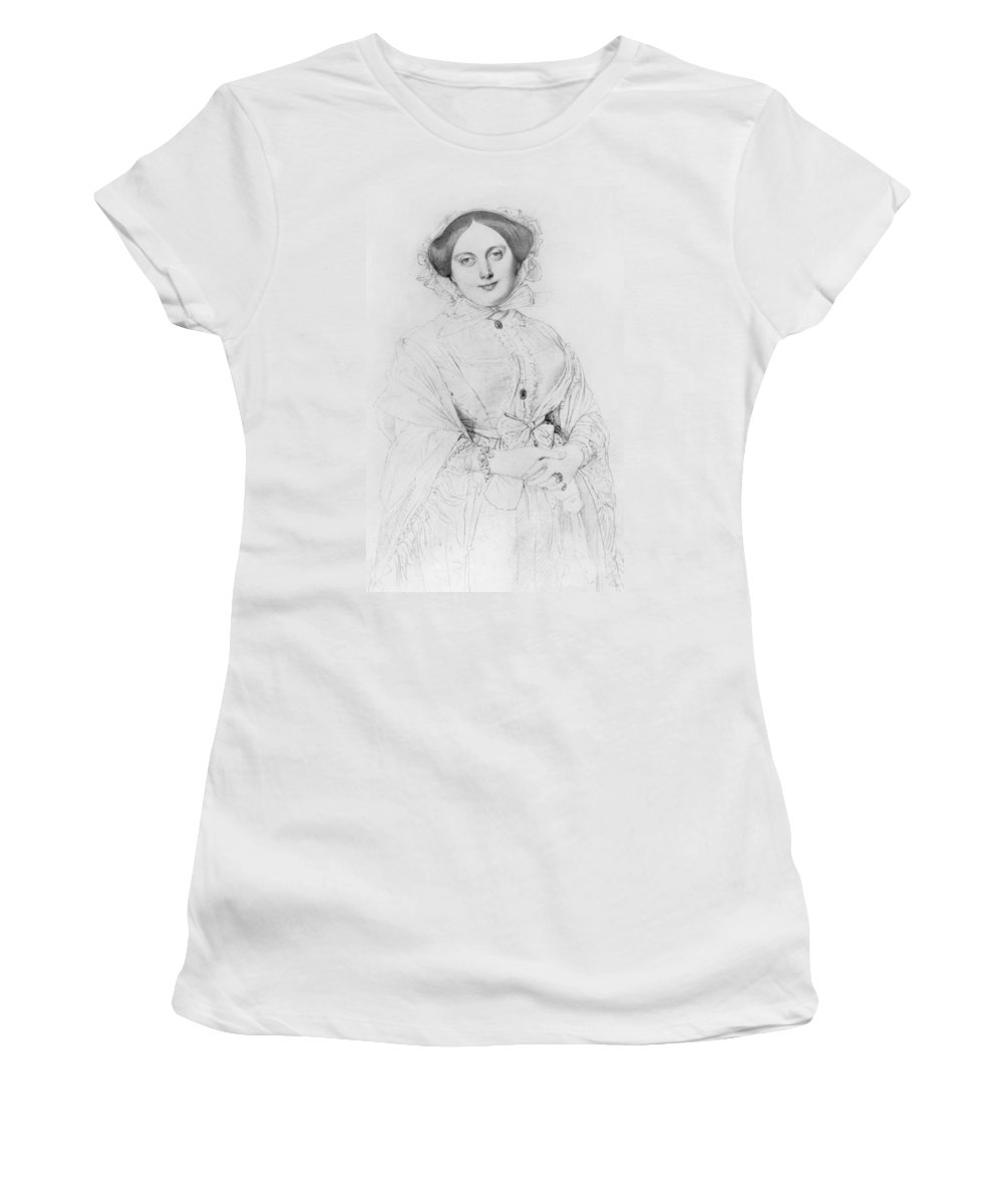Ingres Women's T-Shirt featuring the drawing Portrait Of Madame Ingres by Jean Auguste Ingres