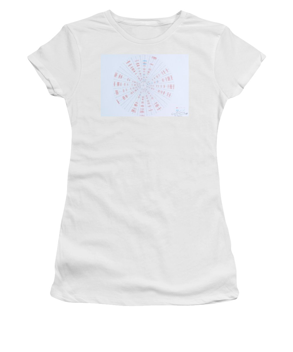Prime Number Women's T-Shirt (Athletic Fit) featuring the drawing Prime Number Pattern P Mod 40 by Jason Padgett