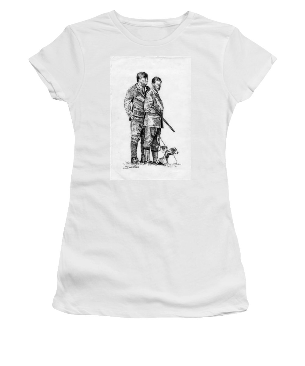 Women's T-Shirt featuring the drawing Prince Charles Hunting by Jude Darrien