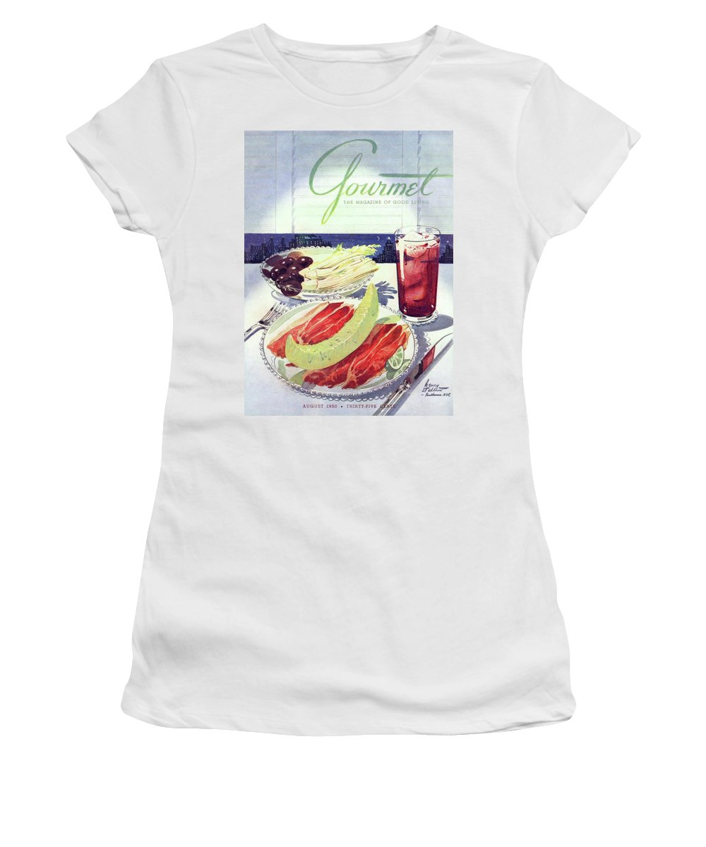 Food Women's T-Shirt featuring the photograph Prosciutto, Melon, Olives, Celery And A Glass by Henry Stahlhut