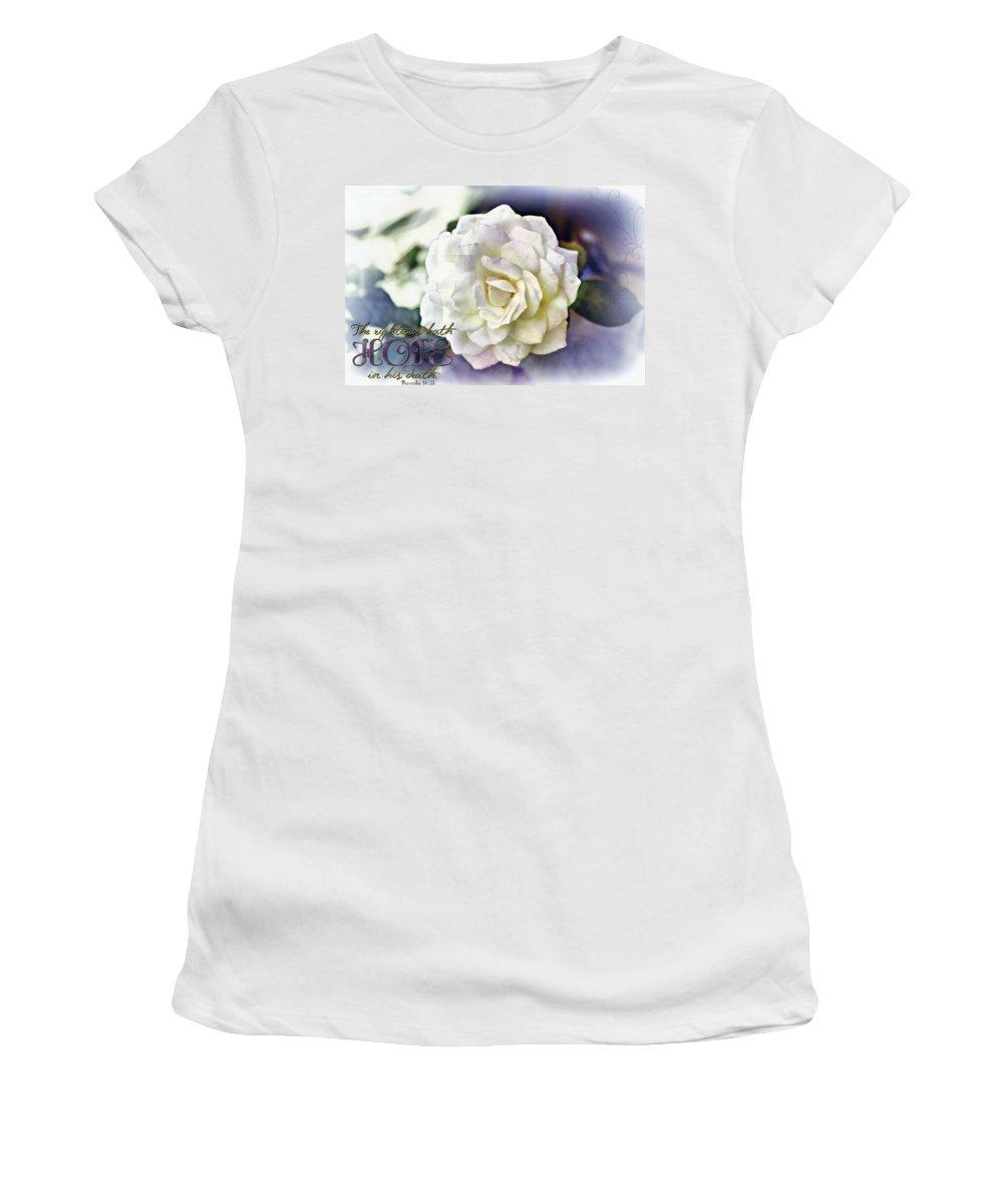 Jesus Women's T-Shirt featuring the digital art Proverbs 14 32 by Michelle Greene Wheeler