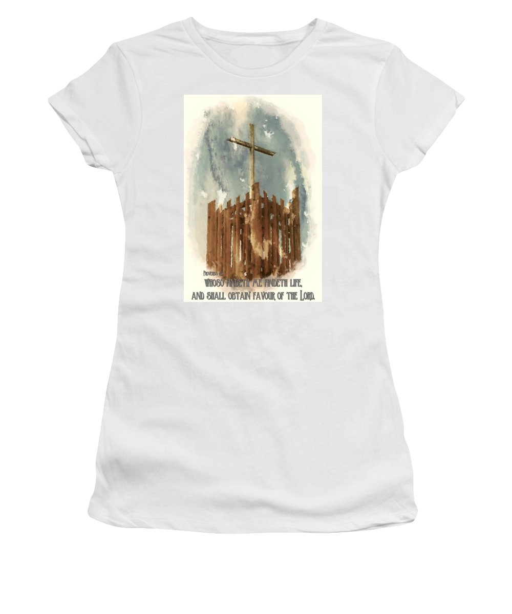 Jesus Women's T-Shirt (Athletic Fit) featuring the digital art Proverbs 8 35 by Michelle Greene Wheeler