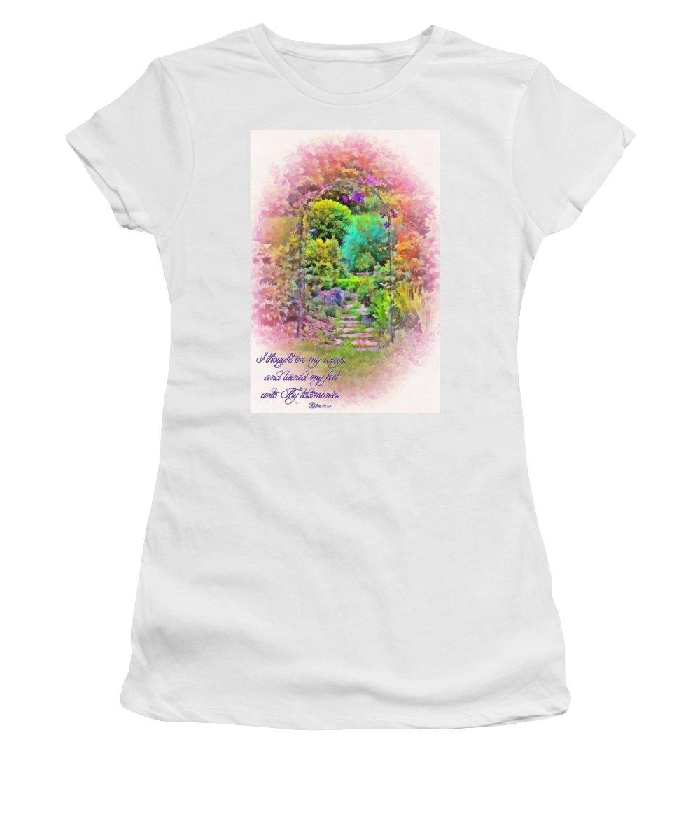 Jesus Women's T-Shirt featuring the digital art Psalm 119 59 by Michelle Greene Wheeler