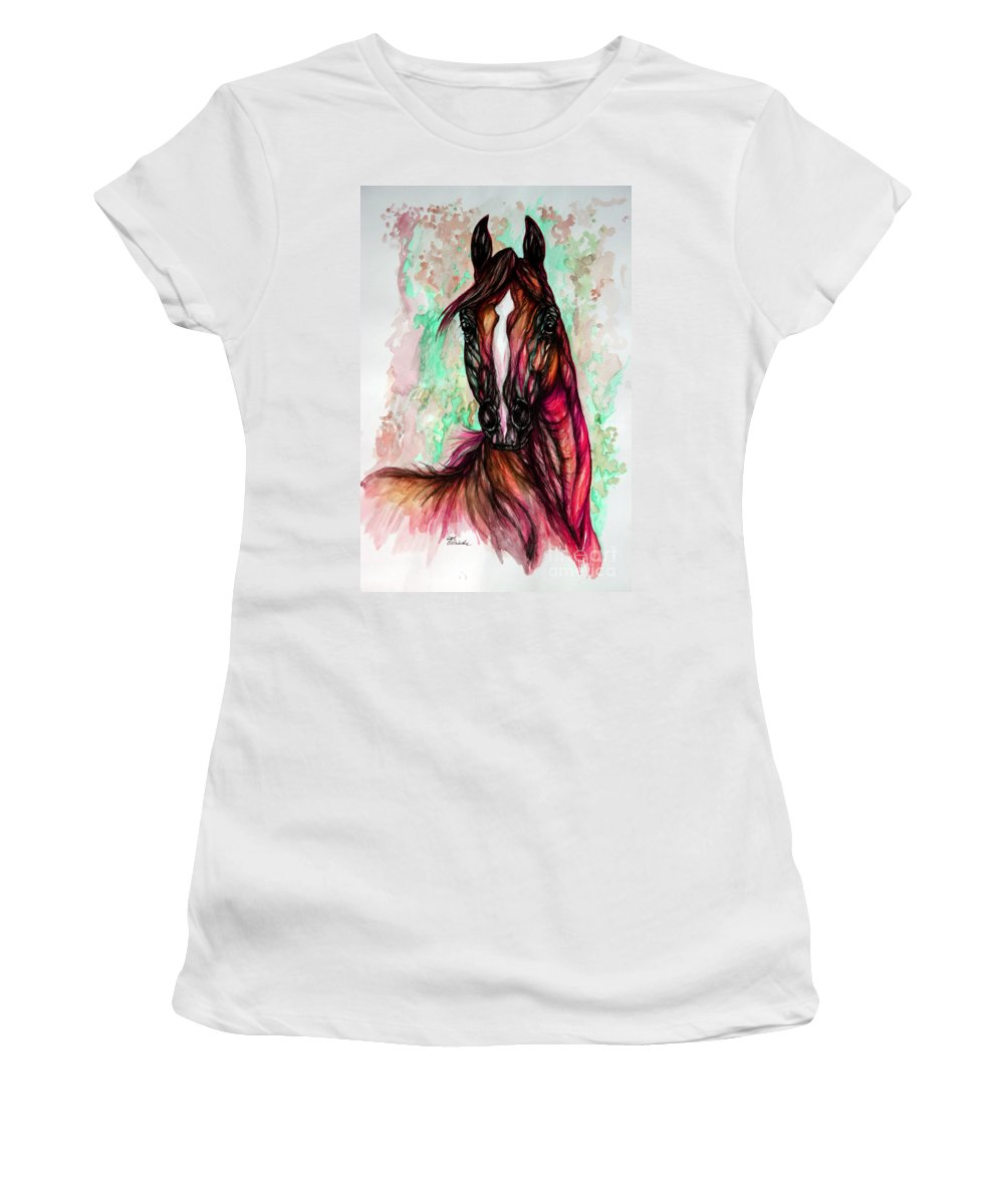Horse Women's T-Shirt (Athletic Fit) featuring the painting Psychedelic Pink And Green by Angel Ciesniarska