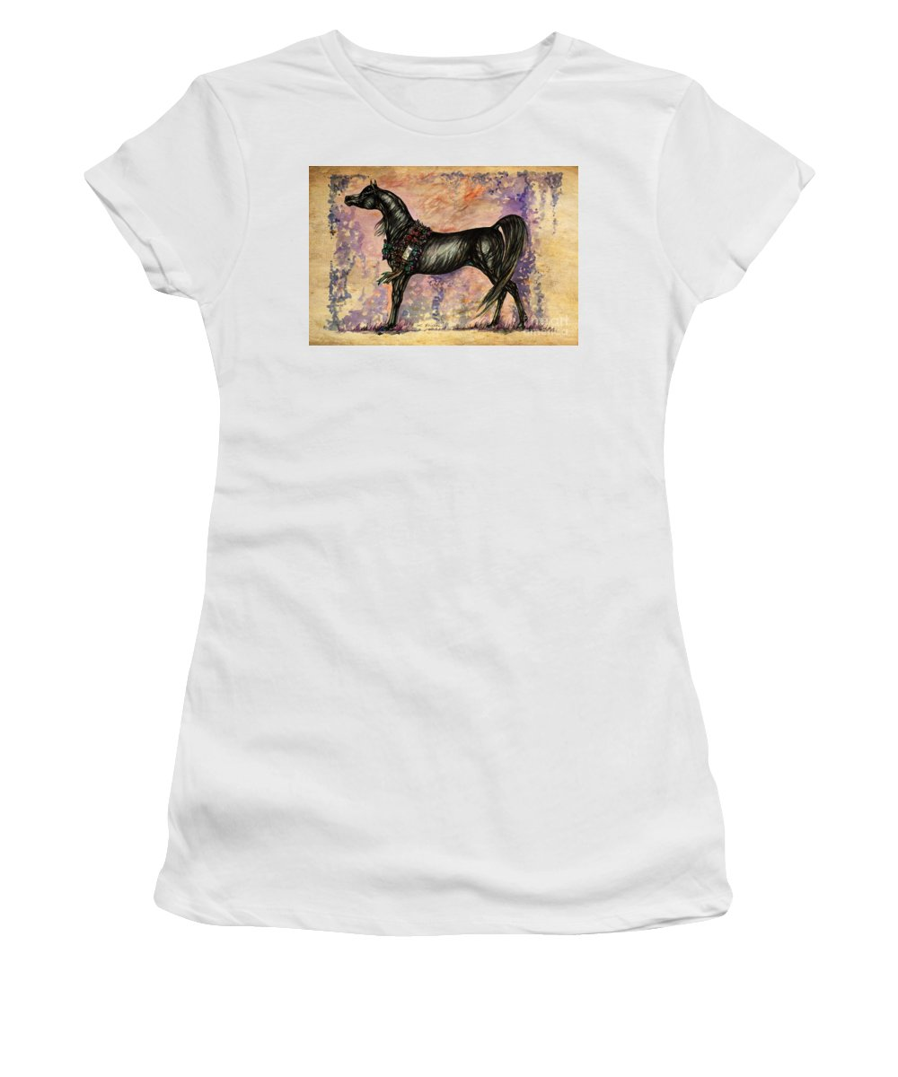 Horse Women's T-Shirt (Athletic Fit) featuring the painting Psychodelic Black And Blue by Angel Ciesniarska