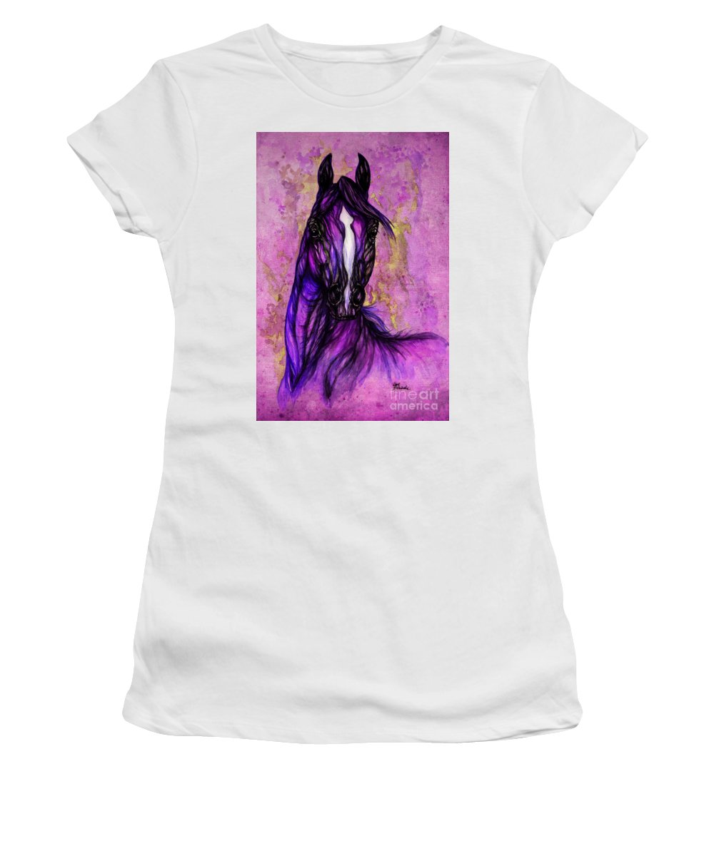 Women's T-Shirt (Athletic Fit) featuring the painting Psychodelic Purple Horse by Angel Ciesniarska