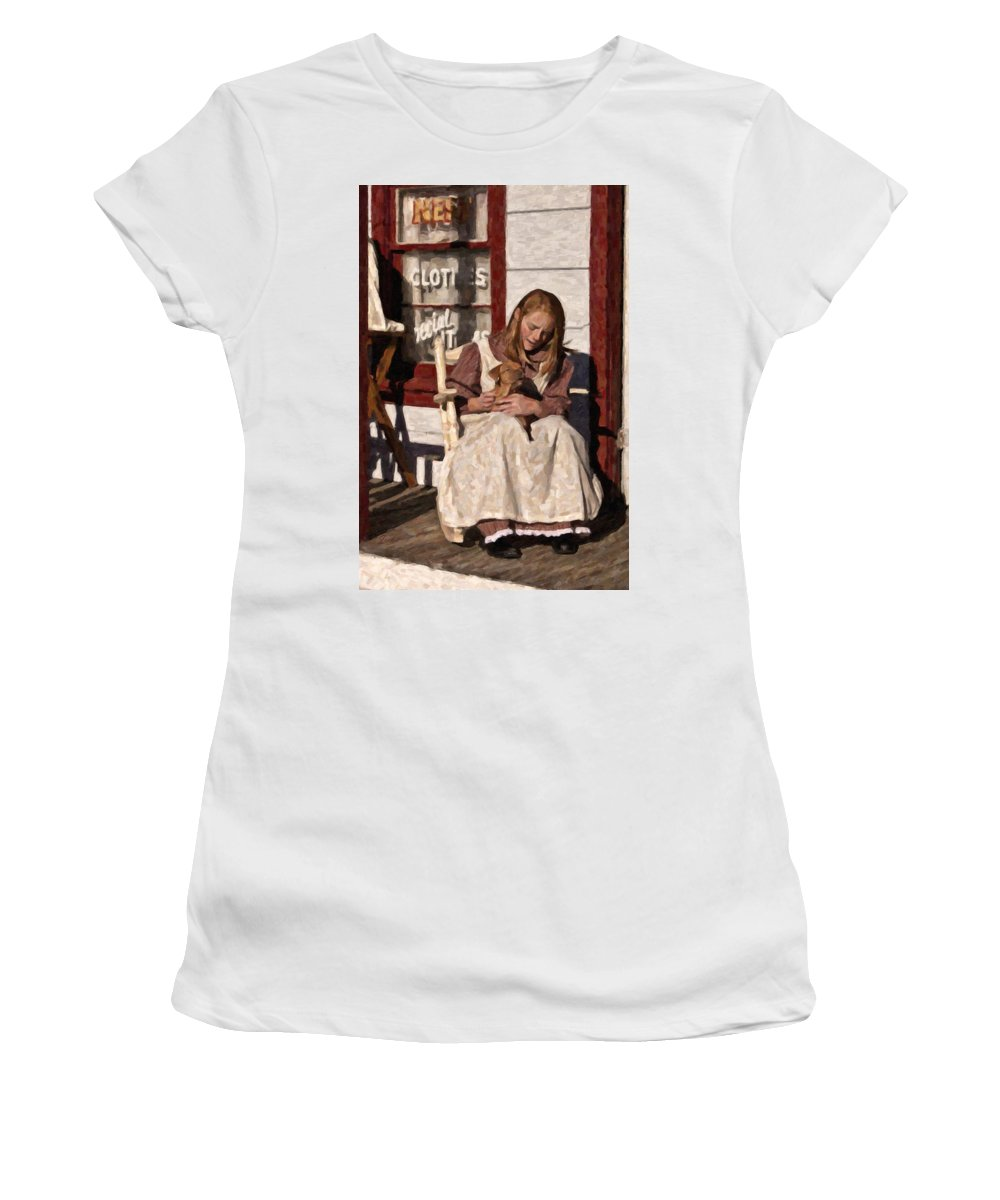 Girl Women's T-Shirt featuring the digital art Puppy by Jack Milchanowski