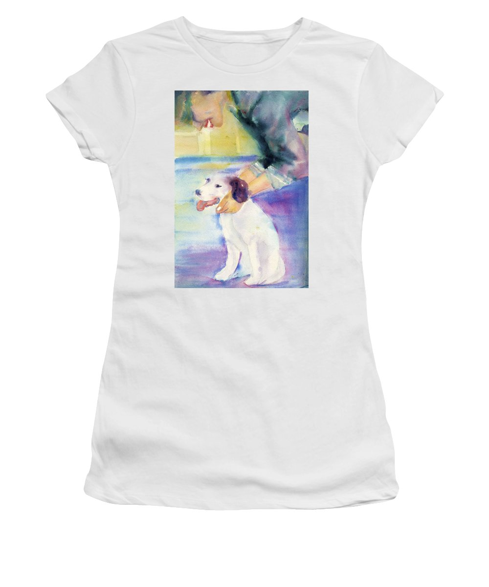 Dog Painting Women's T-Shirt featuring the painting Puppy Love by Deborah Pence