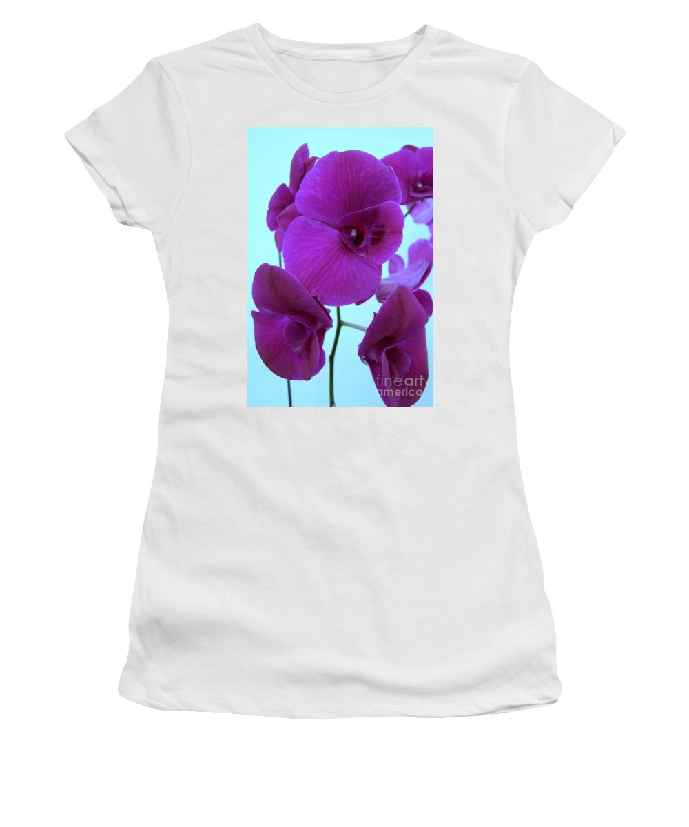 Orchid Women's T-Shirt featuring the photograph Purple Orchids 3 by Mary Deal