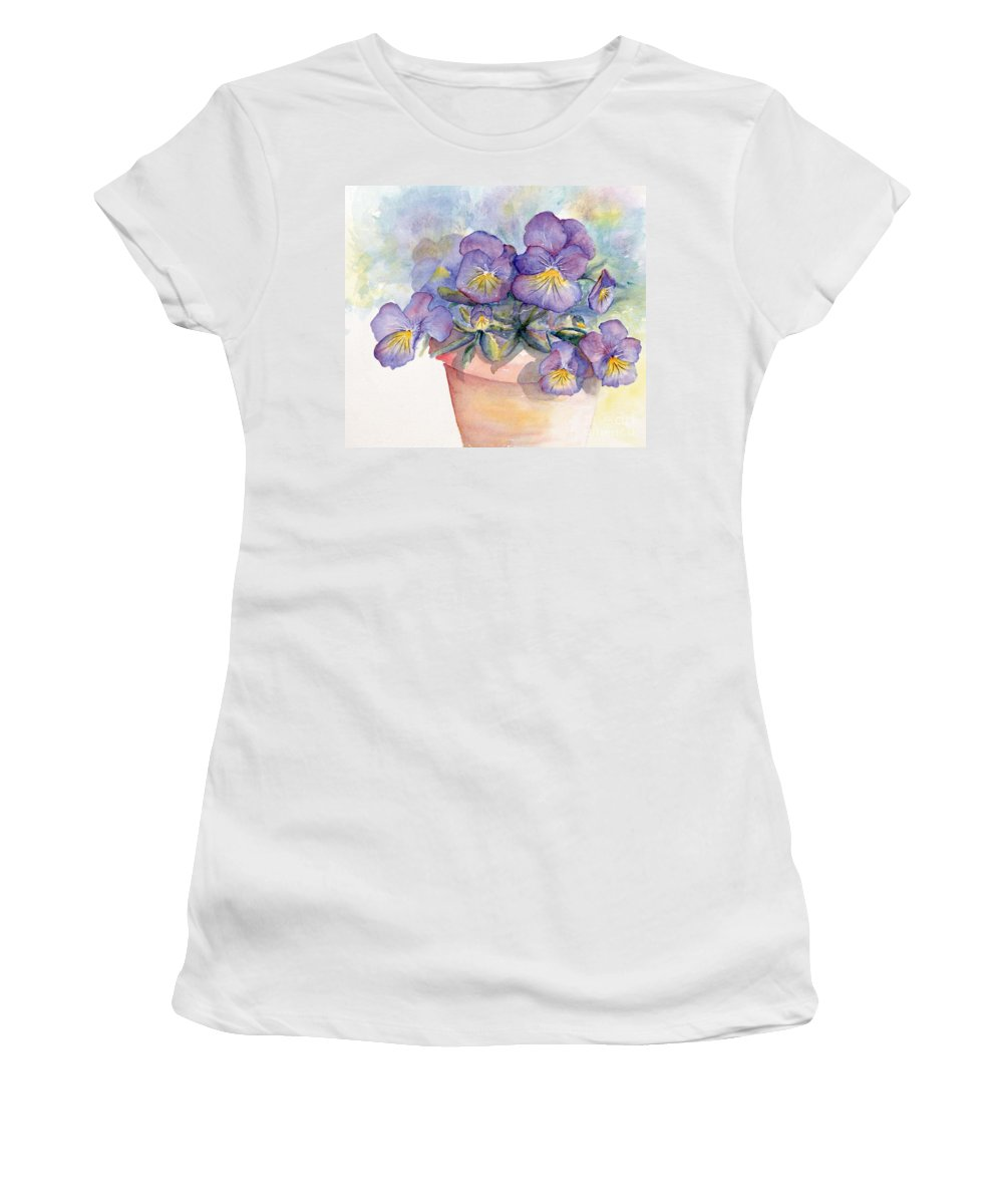 Pansy Women's T-Shirt featuring the painting Purple Pansies by CheyAnne Sexton