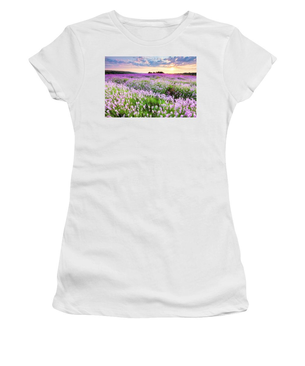 Bulgaria Women's T-Shirt featuring the photograph Purple Sea by Evgeni Dinev