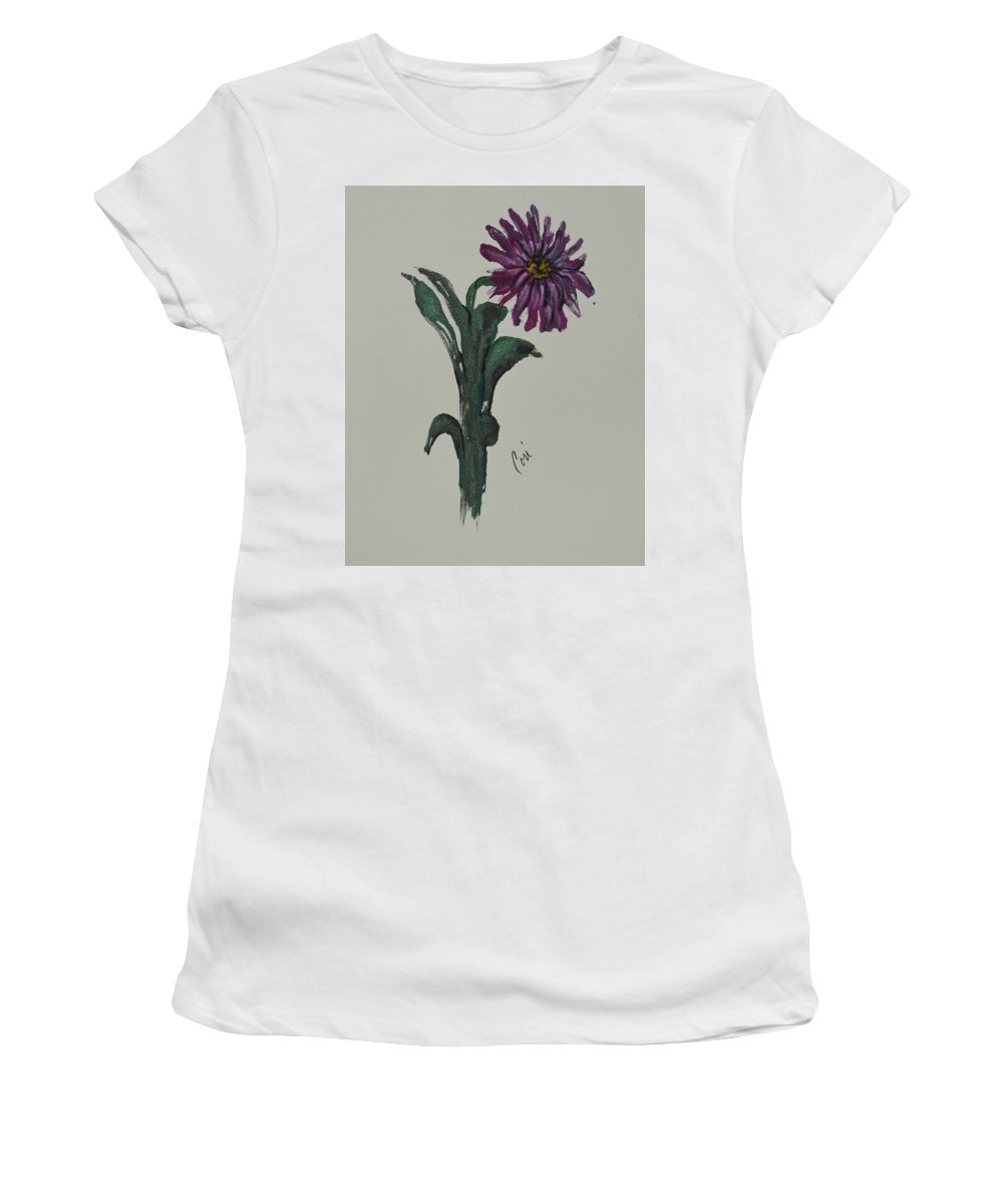 Flower Women's T-Shirt (Athletic Fit) featuring the mixed media Purple Simplicity by Cori Solomon