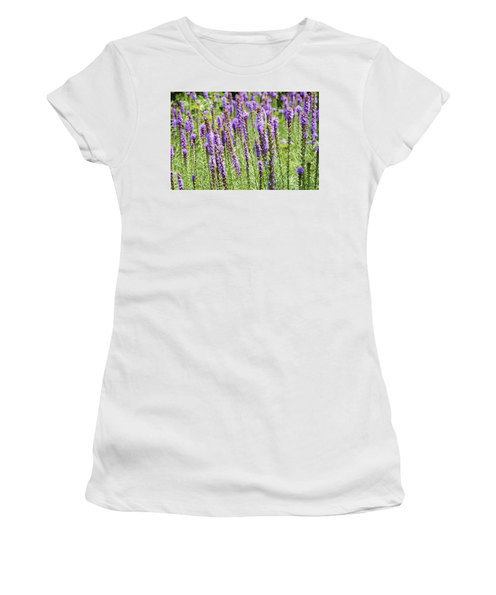 Garden Women's T-Shirt (Athletic Fit) featuring the painting Purple Wild Flowers3 by Jeelan Clark
