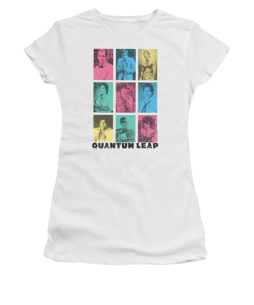 Quantum Leap Women's T-Shirt featuring the digital art Quantum Leap - Faces Of Sam by Brand A