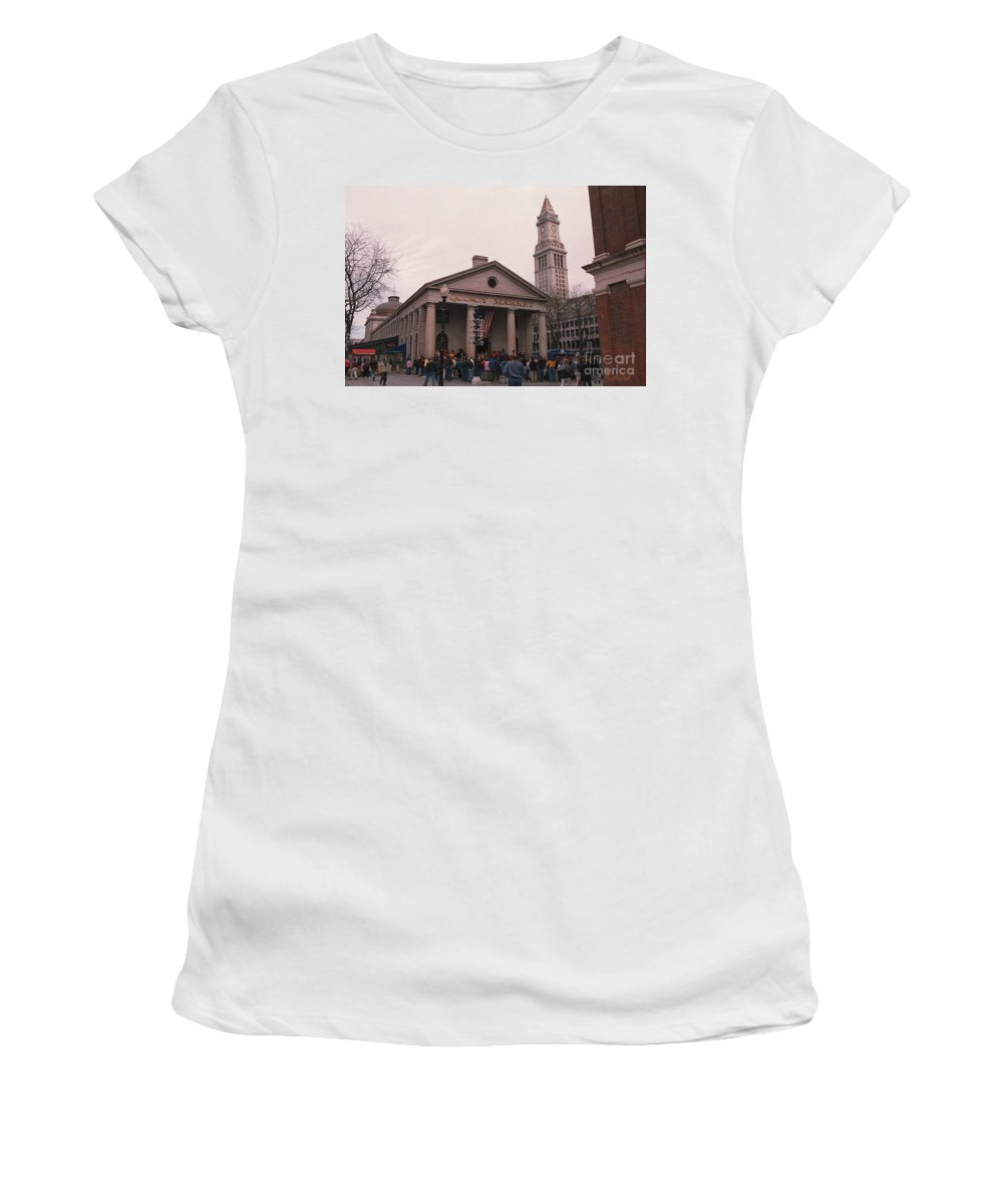 Boston Women's T-Shirt (Athletic Fit) featuring the photograph Quincy Market - Boston Massachusetts by S Mykel Photography