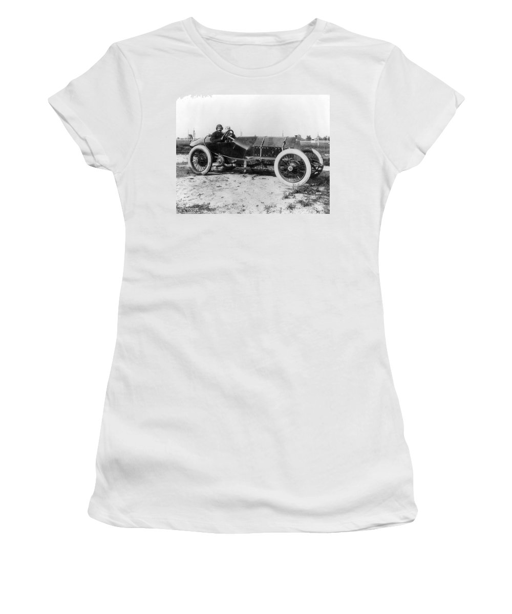 1913 Women's T-Shirt (Athletic Fit) featuring the photograph Racecar Drivers, C1913 by Granger