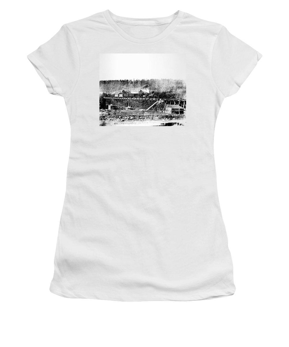 1858 Women's T-Shirt (Athletic Fit) featuring the photograph Railroad Bridge, 1858 by Granger