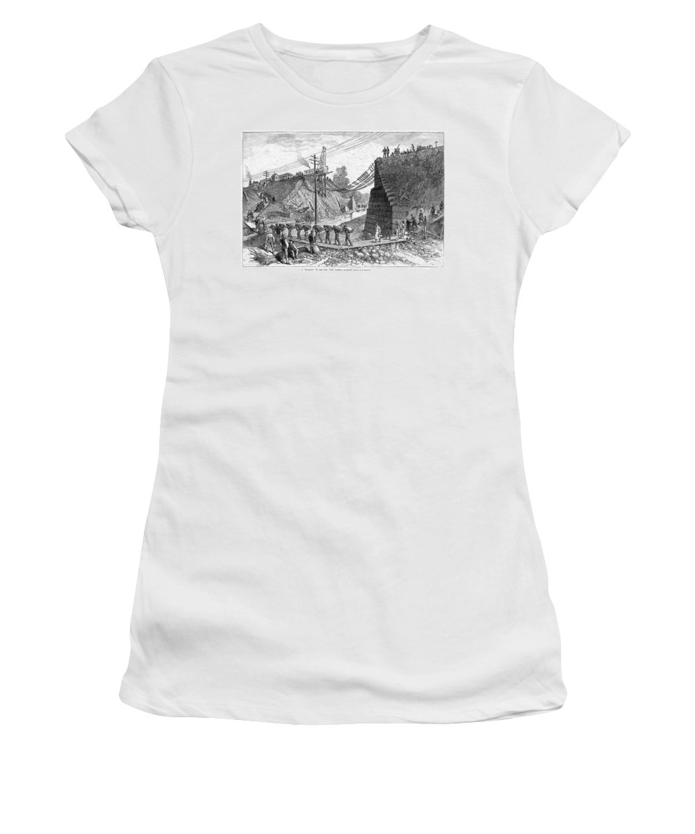 1885 Women's T-Shirt (Athletic Fit) featuring the painting Railroad Washout, 1885 by Granger