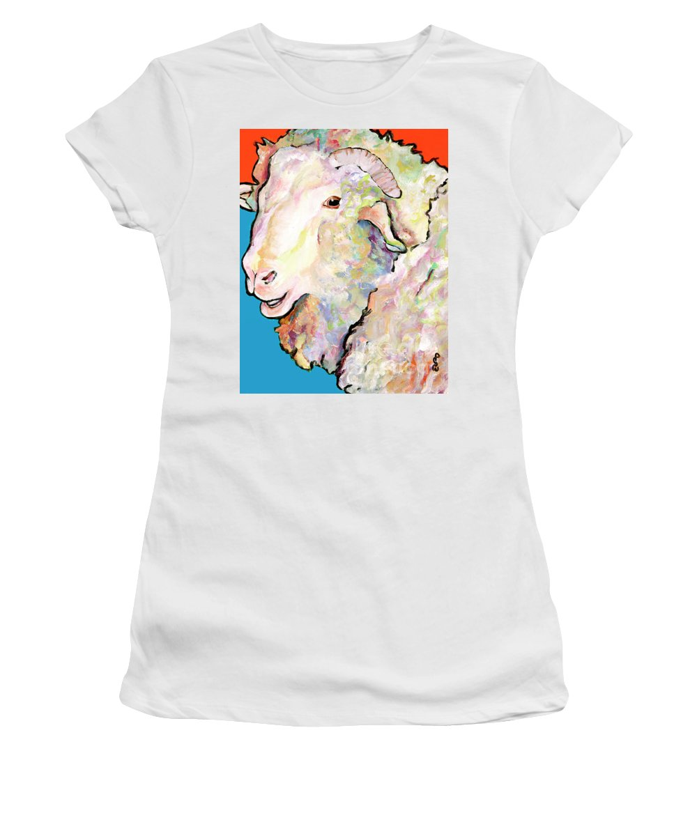 Pat Saunders-white Women's T-Shirt (Athletic Fit) featuring the painting Rainbow Ram by Pat Saunders-White
