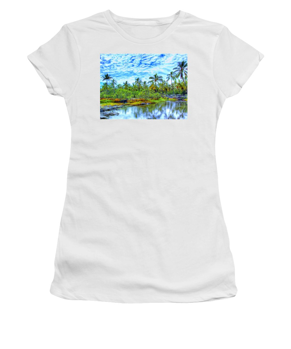 Rain Women's T-Shirt featuring the painting Rainy Afternoon In Kona by Dominic Piperata