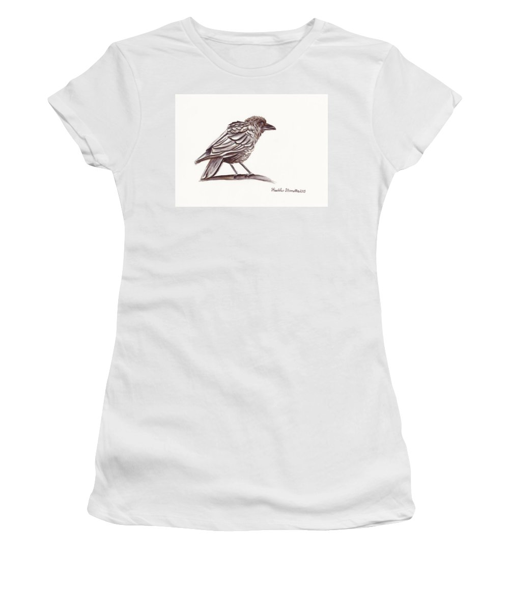 Crows Women's T-Shirt featuring the drawing Raven by Heather Stinnett