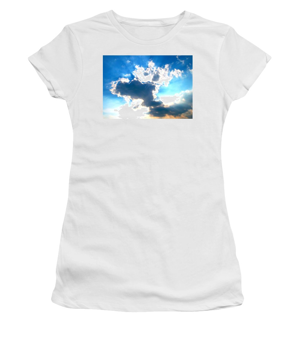 Clouds Women's T-Shirt featuring the photograph Rays Of Light by The Creative Minds Art and Photography