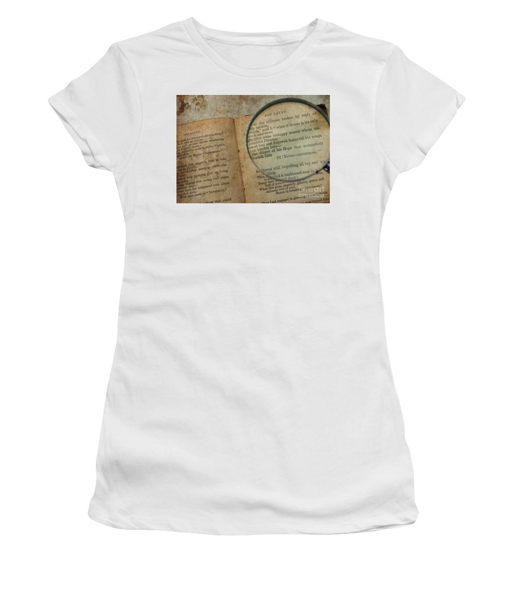 Books Women's T-Shirt (Athletic Fit) featuring the photograph Reading The Raven by Jacklyn Duryea Fraizer