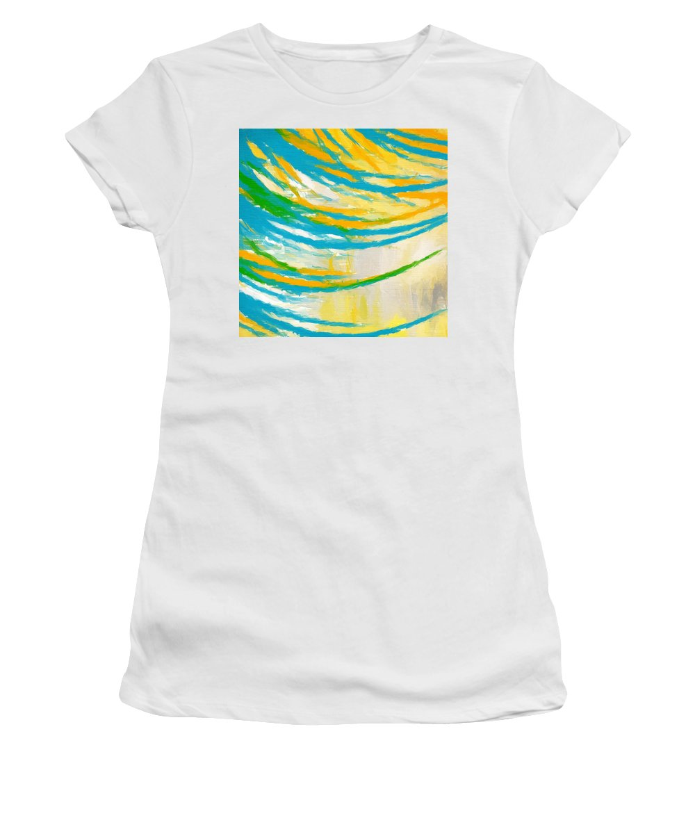 Yellow Women's T-Shirt (Athletic Fit) featuring the painting Rebirth by Lourry Legarde