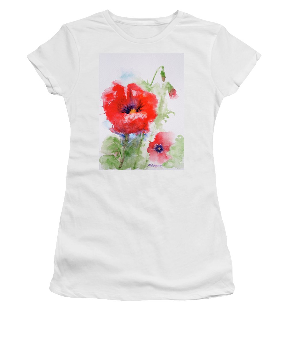 Red Women's T-Shirt featuring the painting Red Anemones by Marna Edwards Flavell