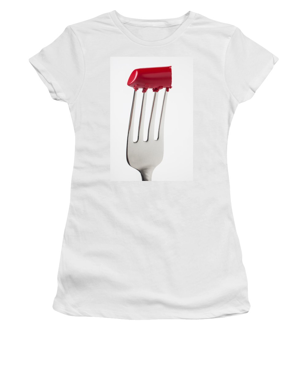 Cosmetics Women's T-Shirt featuring the photograph Red Lipstick On Fork by Garry Gay