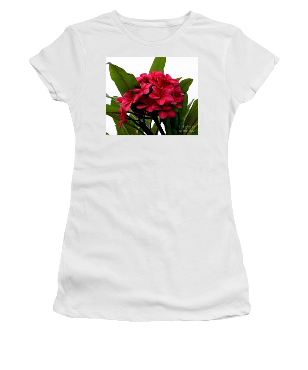 Plumeria Women's T-Shirt (Athletic Fit) featuring the photograph Red Plumeria by Mary Deal