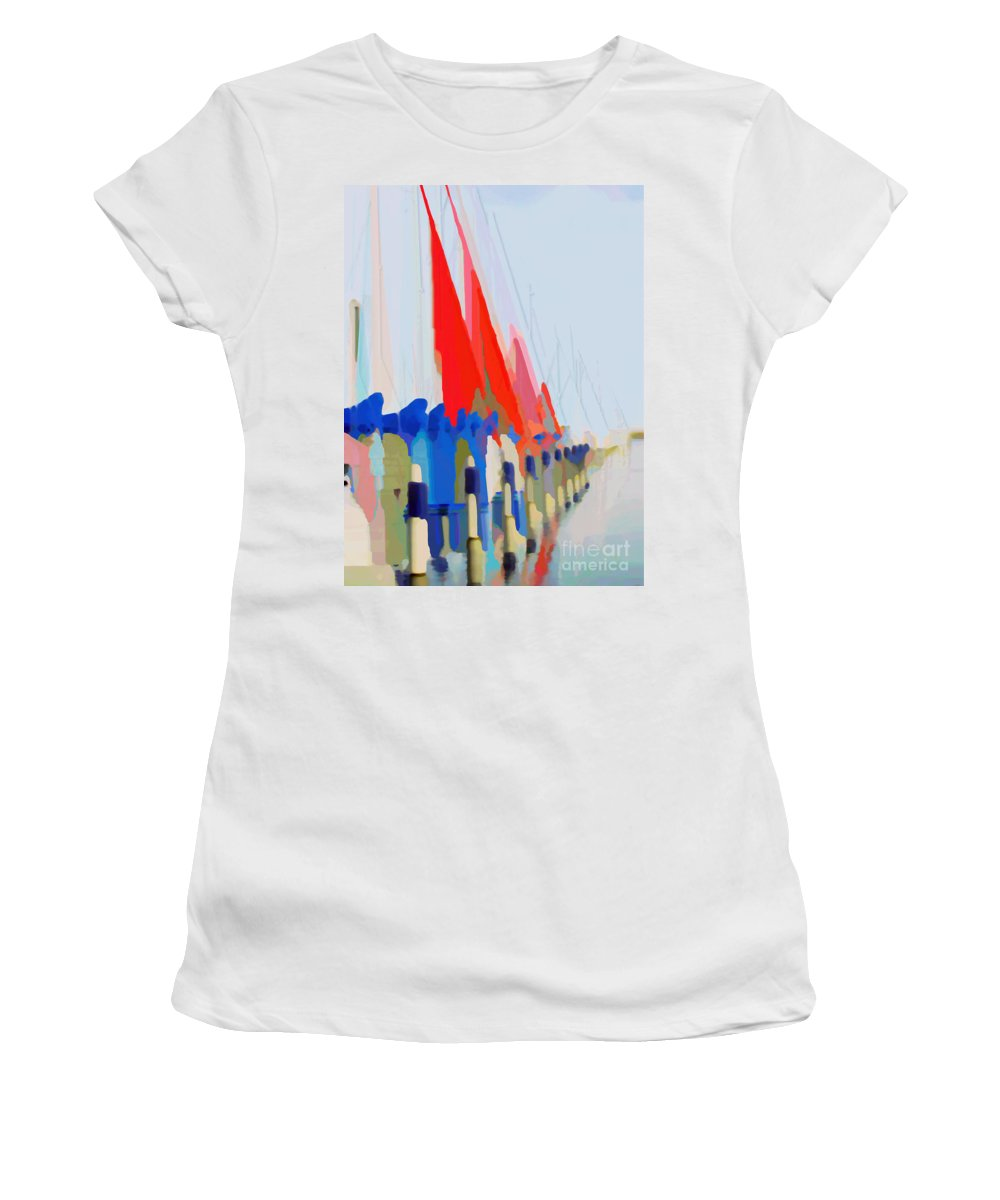 Sail Boats Women's T-Shirt featuring the photograph Red Sails In The Sunset by Luc Van de Steeg