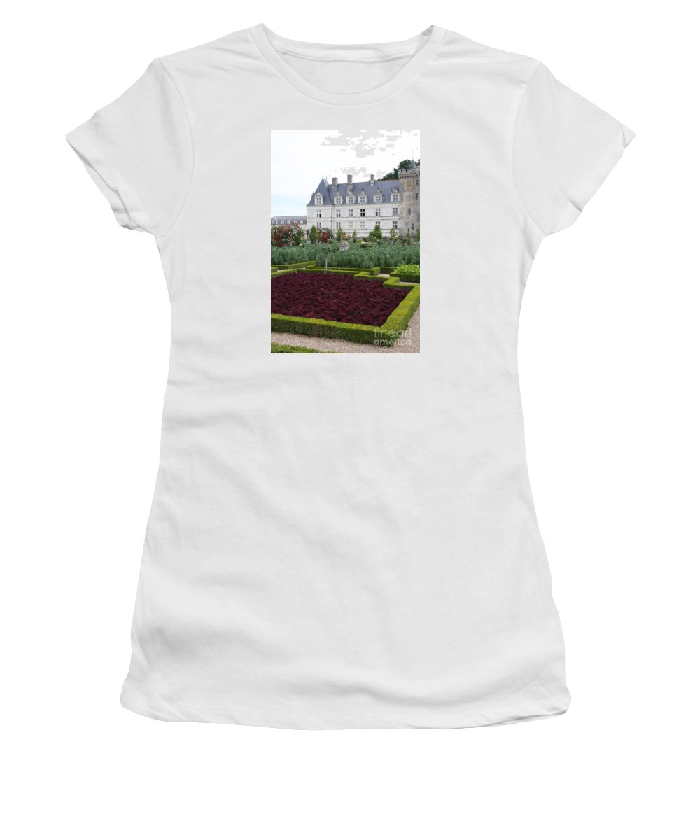 Cabbage Women's T-Shirt featuring the photograph Red Salad And Cabbage Garden - Chateau Villandry by Christiane Schulze Art And Photography