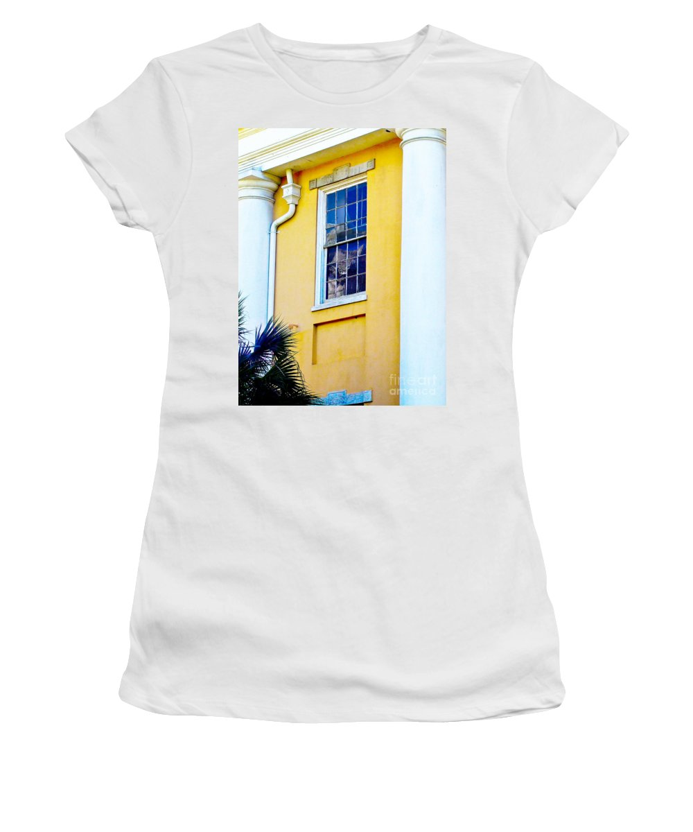 Architecture Women's T-Shirt (Athletic Fit) featuring the photograph Reflection Between The Columns by Frances Hattier