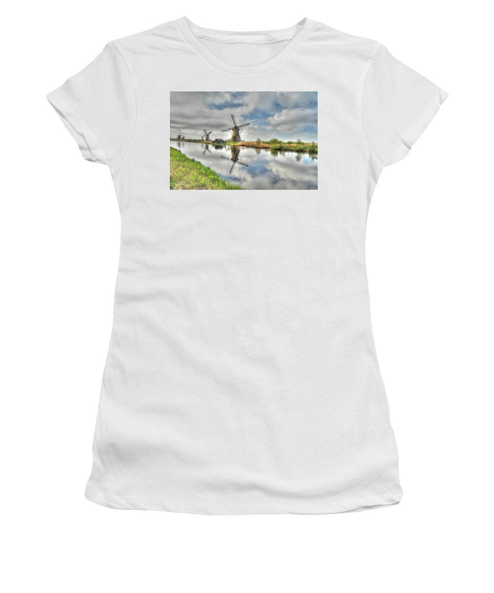 Art Women's T-Shirt (Athletic Fit) featuring the photograph Reflections Of Wndmills by Richard Gehlbach