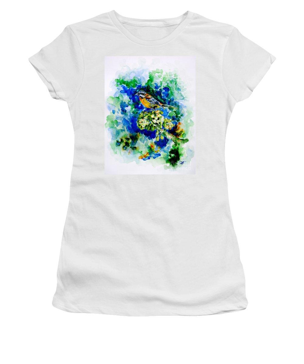 Eina Mora Women's T-Shirt featuring the painting Reina Mora by Zaira Dzhaubaeva
