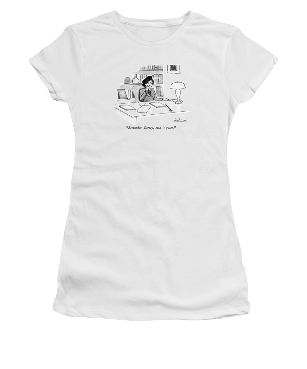 Businesswoman Speaks On Telephone.  Women Women's T-Shirt (Athletic Fit) featuring the drawing Remember, Garvey, Cash Is Queen by Leo Cullum