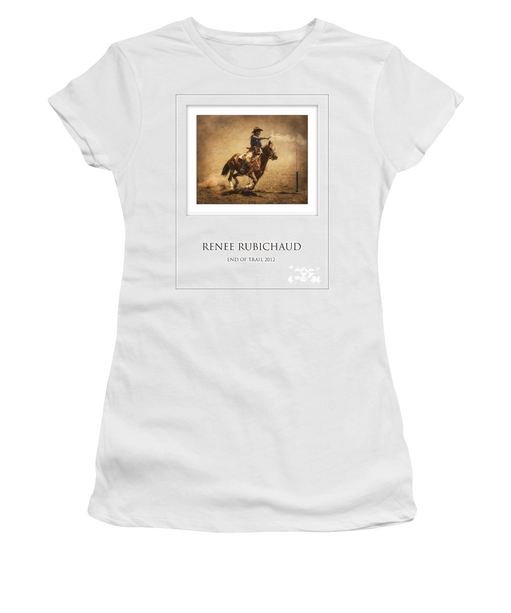 Mounted Shooting Women's T-Shirt featuring the photograph Renee Rubichaud At End Of Trail by Priscilla Burgers