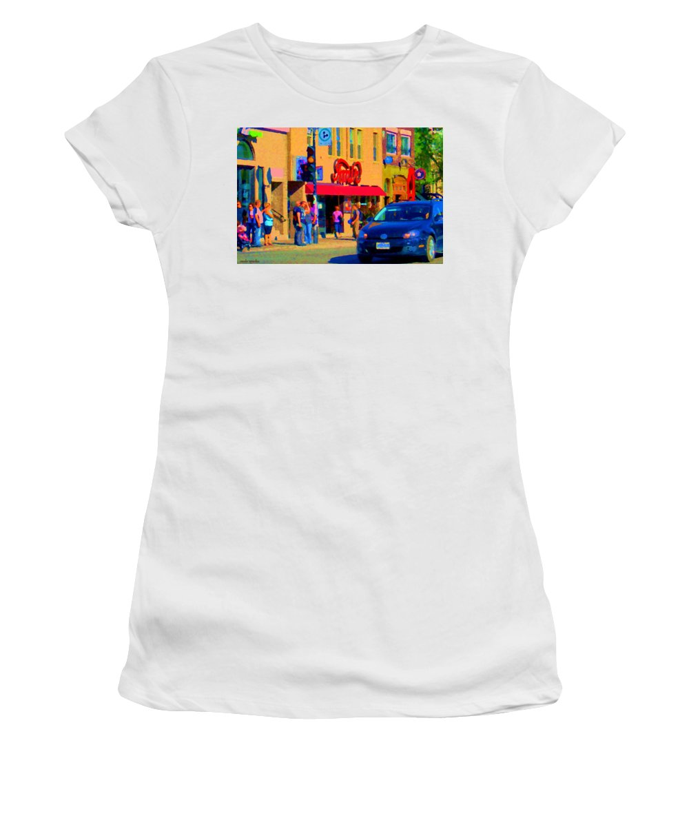 Montreal Women's T-Shirt (Athletic Fit) featuring the painting Restaurant Amir Internet Cafe Fast Food Plateau Montreal City Street Scene Art Carole Spandau by Carole Spandau