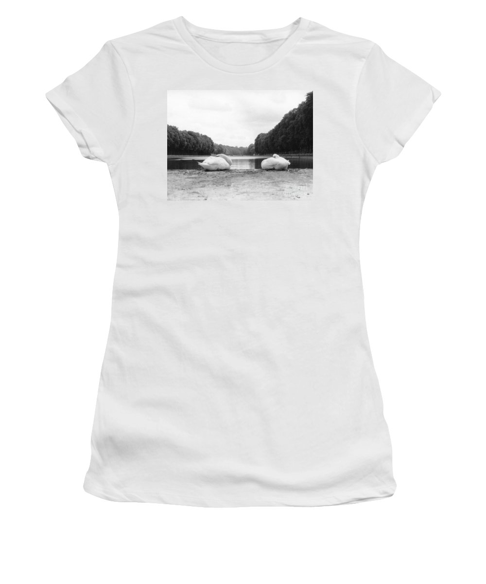 Swans Women's T-Shirt featuring the photograph Resting Swans by Christine Jepsen