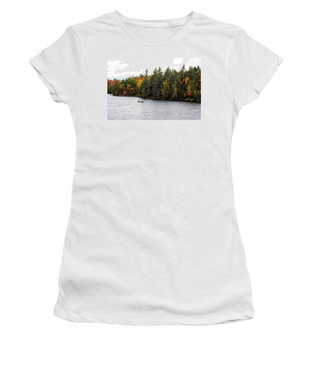 Return Women's T-Shirt featuring the photograph Returning From A Canoe Trip by Les Palenik