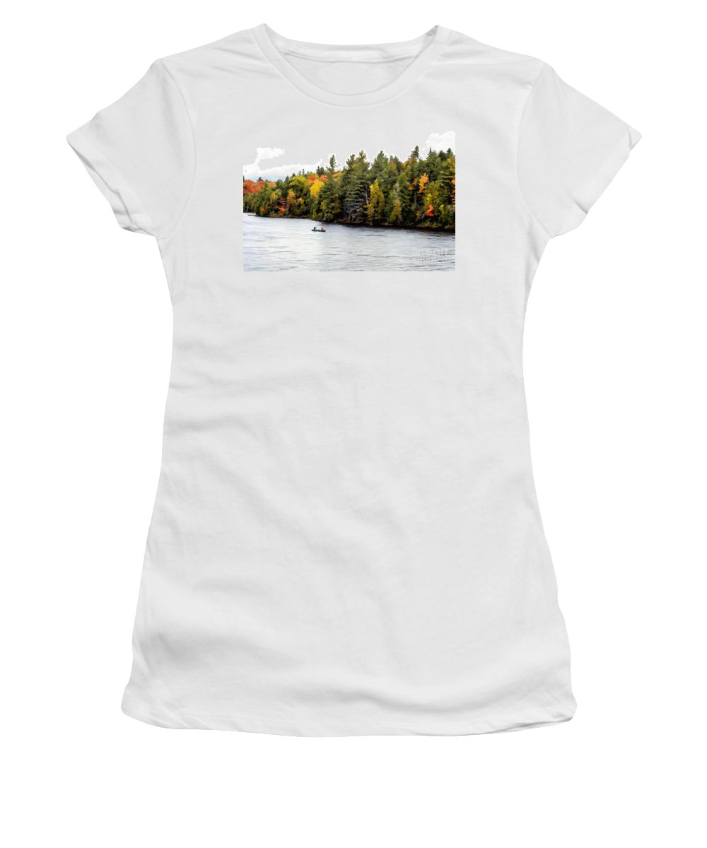 Return Women's T-Shirt featuring the photograph Returning From A Canoe Trip - V2 by Les Palenik